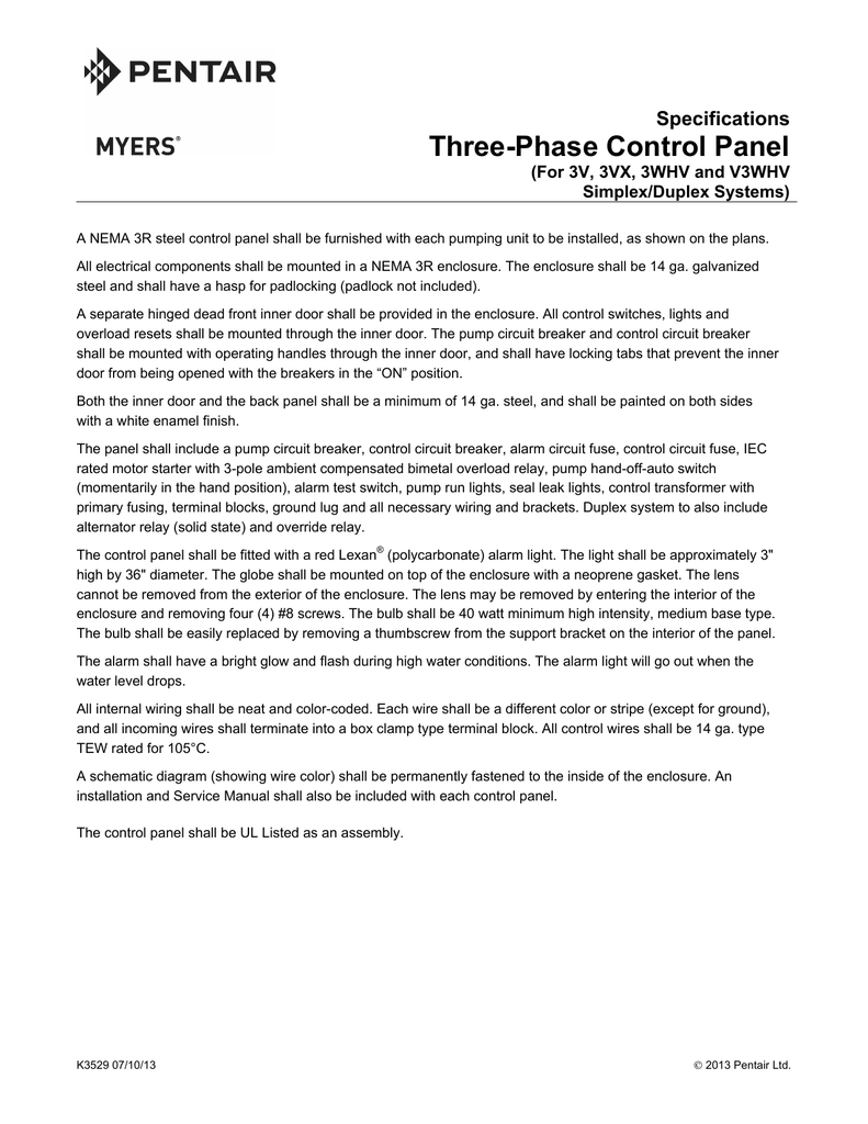 Three-Phase Control Panel - Pentair Water Literature