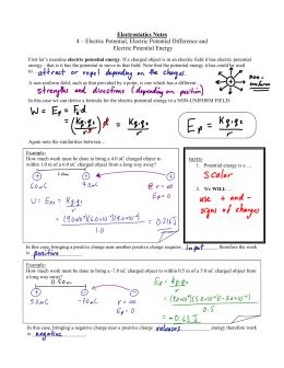 Electrostatics Notes 4 – Electric Potential, Electric Potential
