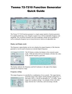 Tenma 72-7210 Function Generator Quick Guide