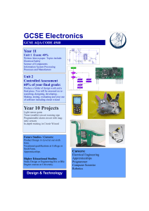 GCSE Electronics Year 10 Projects