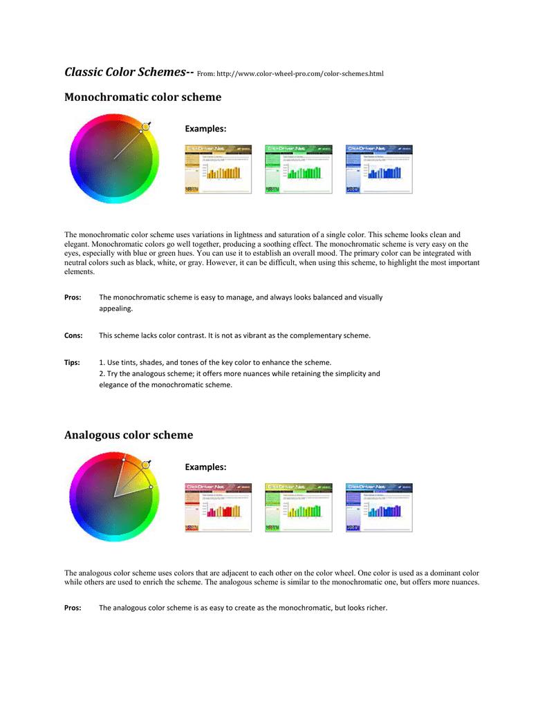 Monochromatic Color Scheme Analogous Color Scheme