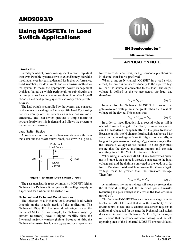 And9093 Using Mosfets In Load Switch Applications Mosfet Circuit Example