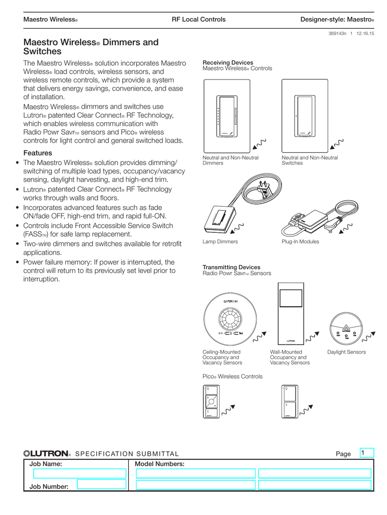 maestro wireless dimmers and switches rh studylib net Lutron MRF2 1S8a 10C lutron mrf2-6ans-wh wiring diagram