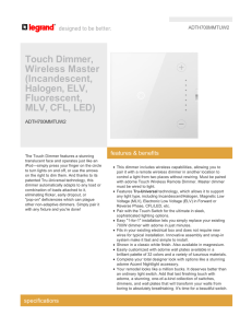 Touch Dimmer, Wireless Master (Incandescent, Halogen, ELV