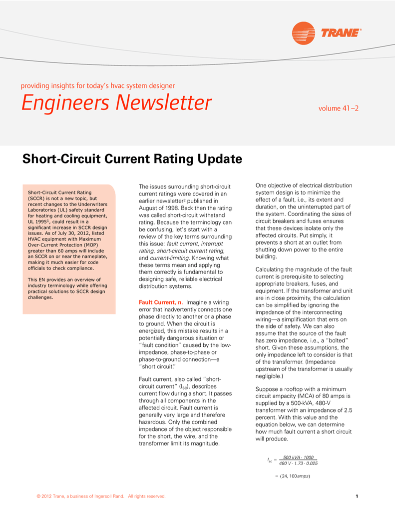 Short Circuit Current Rating Update Outlet