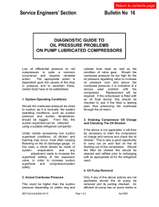 Diagnostic guide to oil pressure problems on pump lubricated
