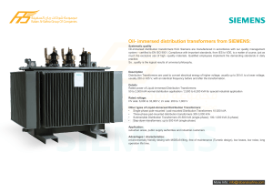 Oil- immersed distribution transformers from SIEMENS: