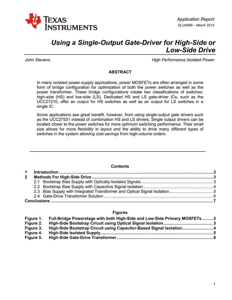 Using A Single Output Gate Driver For High Side Or Low Highside Mosfet Switches At Higher Voltages