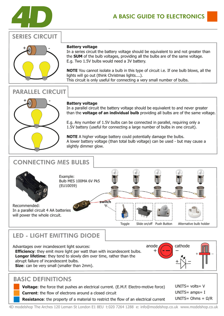 BASIC DEFINITIONS SERIES CIRCUIT PARALLEL CIRCUIT