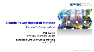 Electric Power Research Institute `Vendor` Presentation