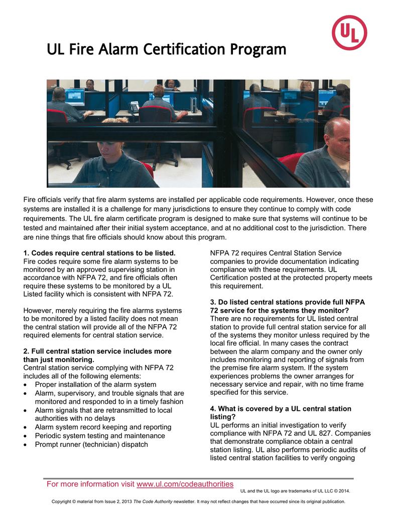 UL Fire Alarm Certification Program