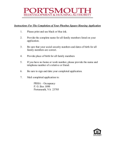 Phoebus Square Housing Application Instructions