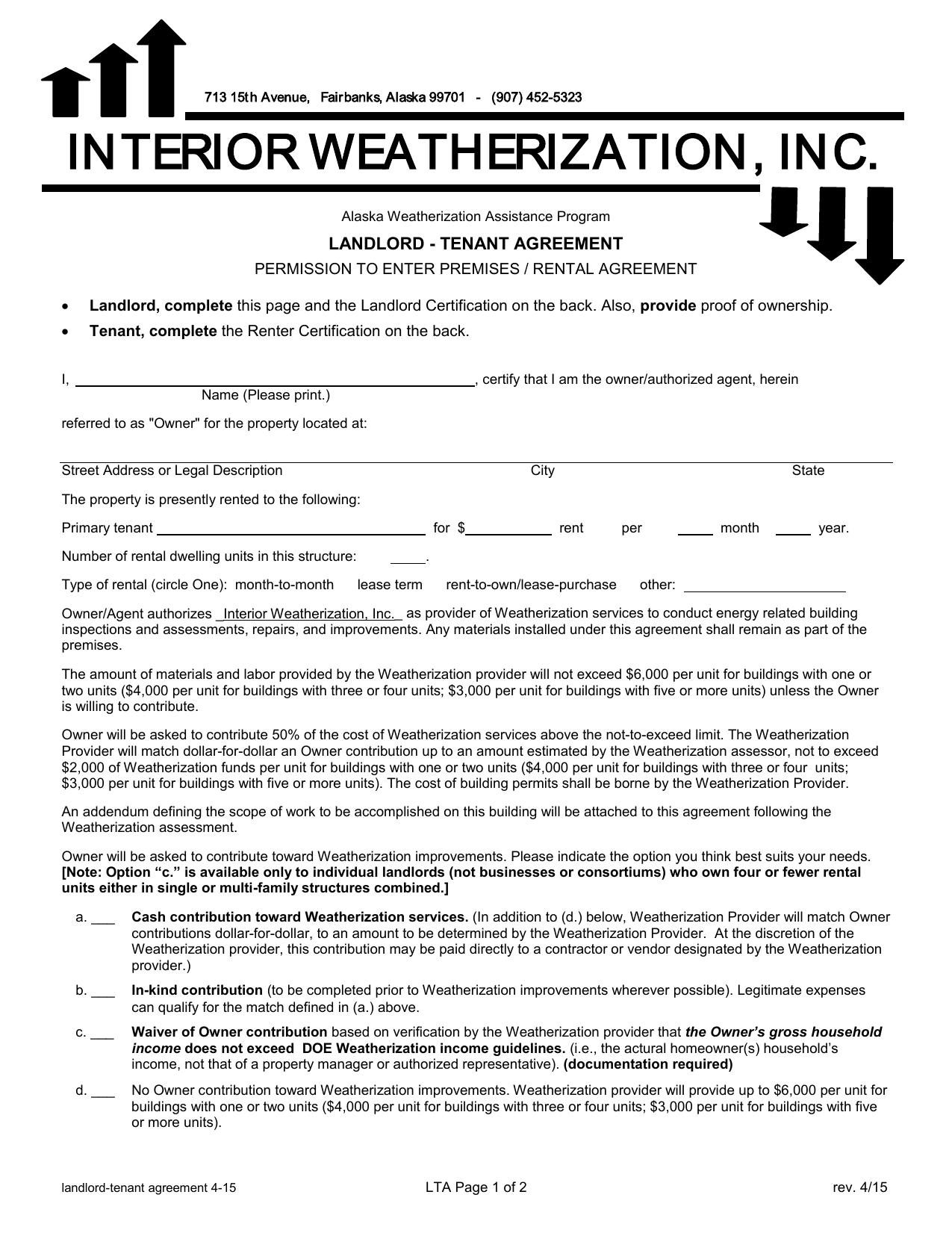 Landlord Tenant Agreement Interior Weatherization Inc
