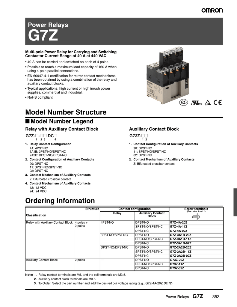 G7z 2a2b 20z Dc12 No And Nc Contacts Of Relay