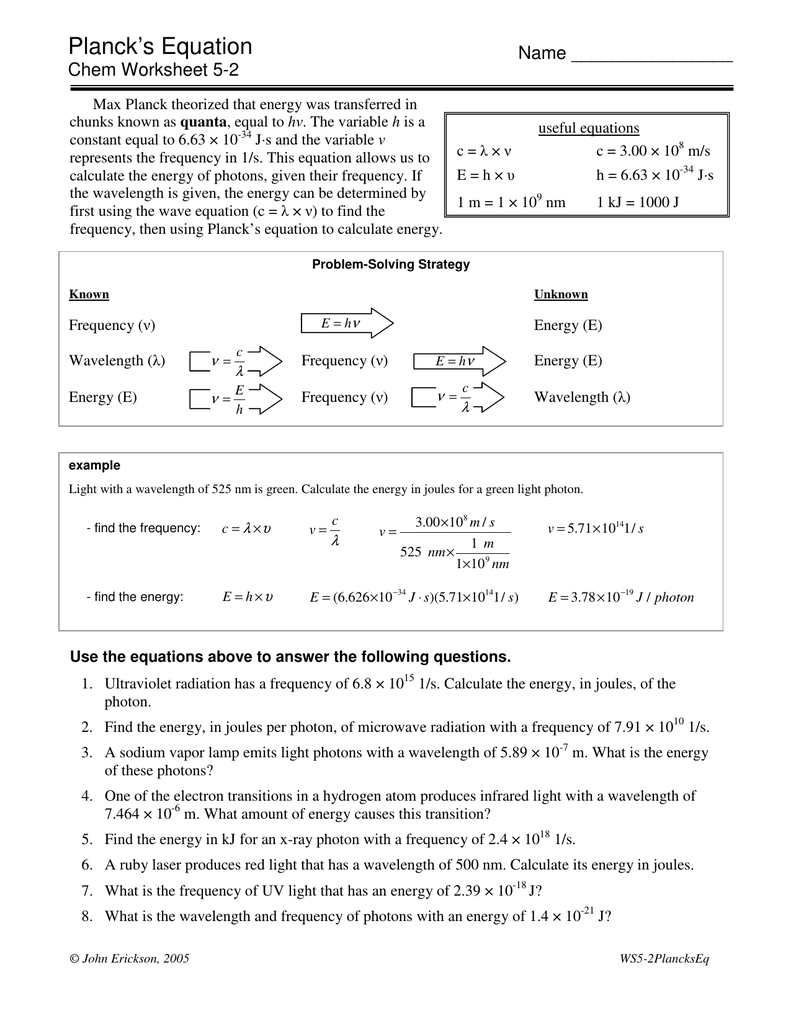 worksheet Light Waves Chem Worksheet 5 1 Answers plancks equation
