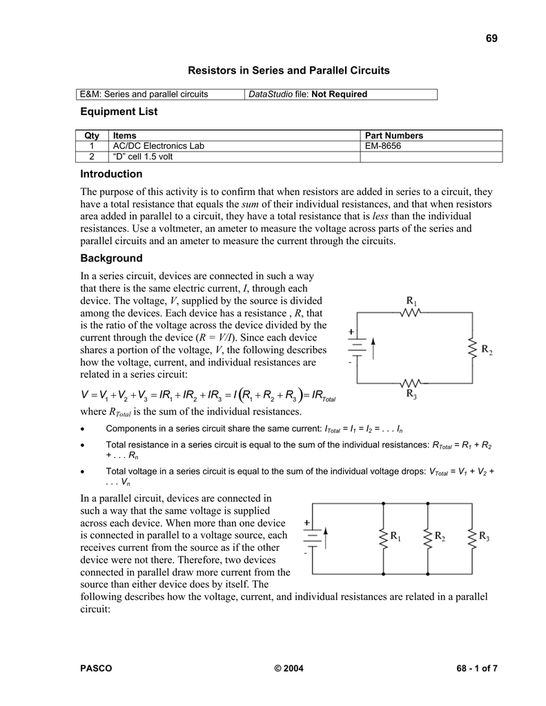 Resistors Faculty Website Listing Components In A Parallel Circuit There Is Voltmeter V1