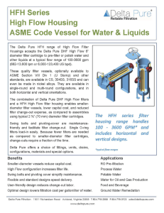 HFH Series High Flow Housing ASME Code Vessel for