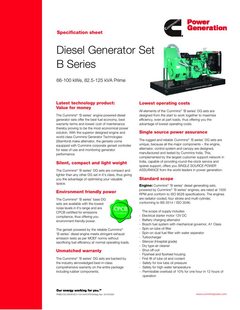 Diesel Generator Set B Series