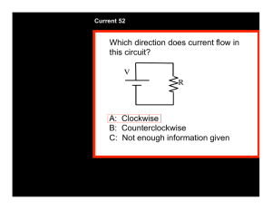 Which direction does current flow in this circuit? A: Clockwise B