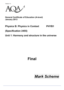 A-level Physics B Mark scheme Unit 01 - Harmony and