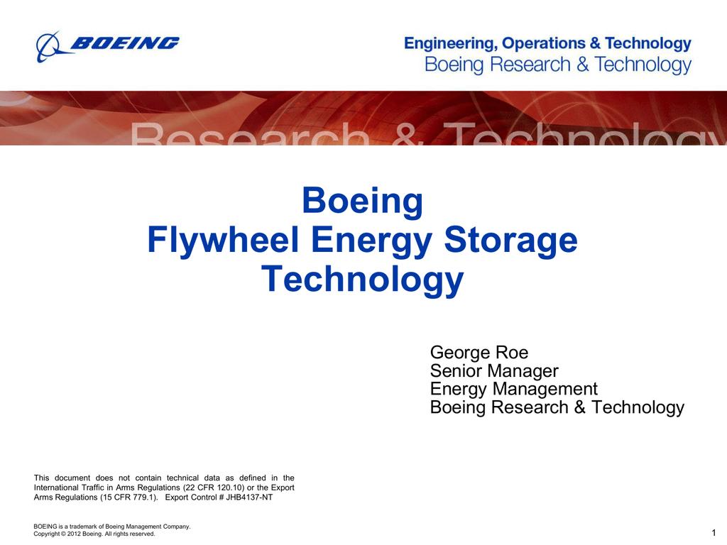 Boeing Flywheel Energy Storage Technology