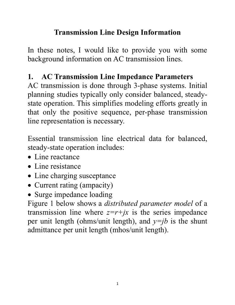 Transmission Line Design Information In These Notes I Would Like To