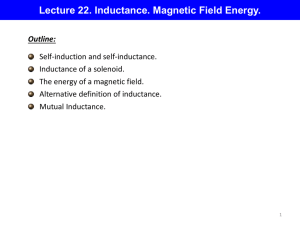 Lecture 22. Inductance. Magnetic Field Energy.