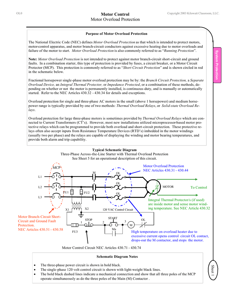 Motor Control Motor Overload Protection on