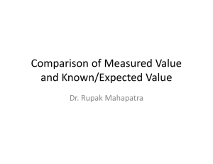 Comparison of Measured Value and Known/Expected Value