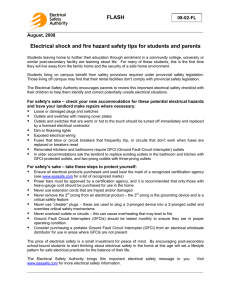 Electrical shock and fire hazard safety tips for students and parents