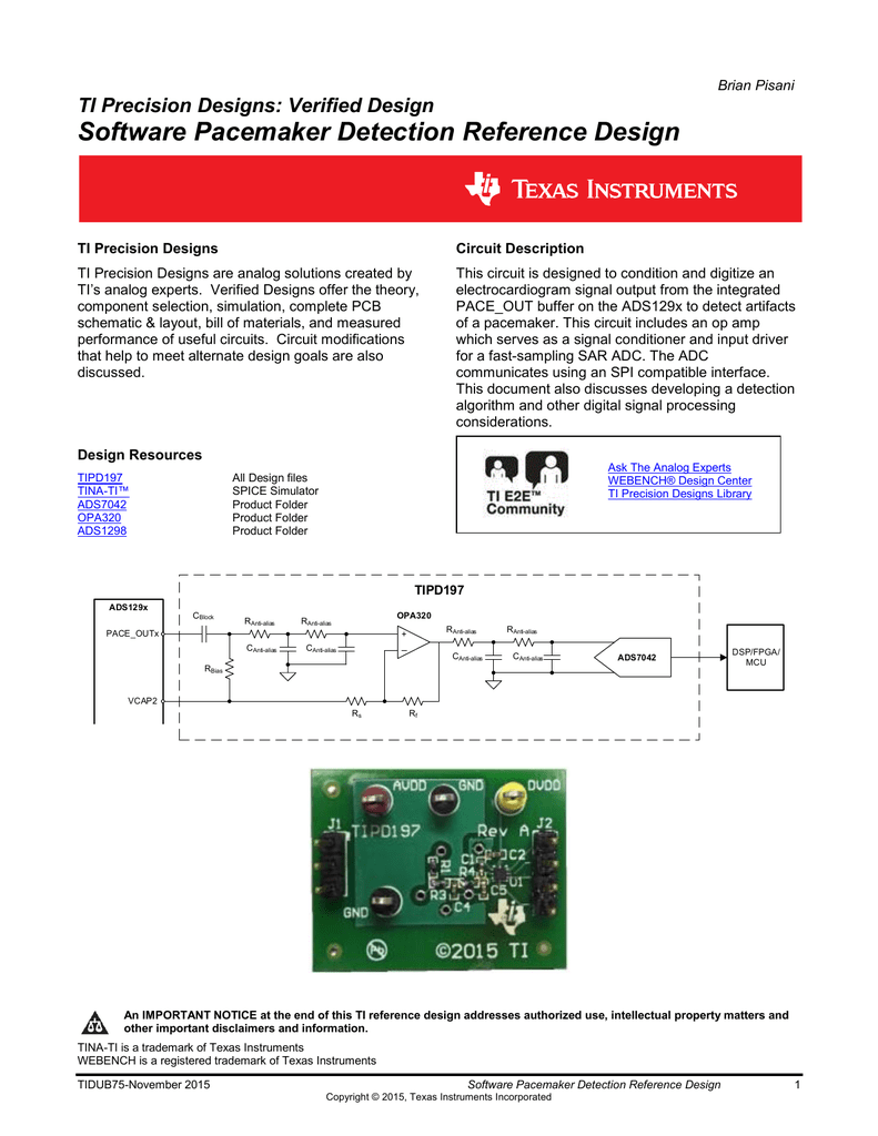 Software Pacemaker Detection Design Guide Tina Electronic Circuit