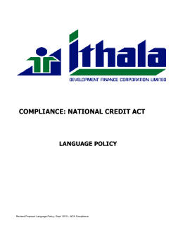 COMPLIANCE: NATIONAL CREDIT ACT