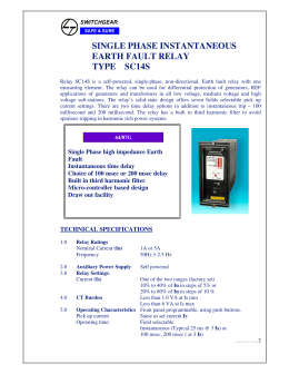 SINGLE PHASE INSTANTANEOUS EARTH FAULT RELAY TYPE