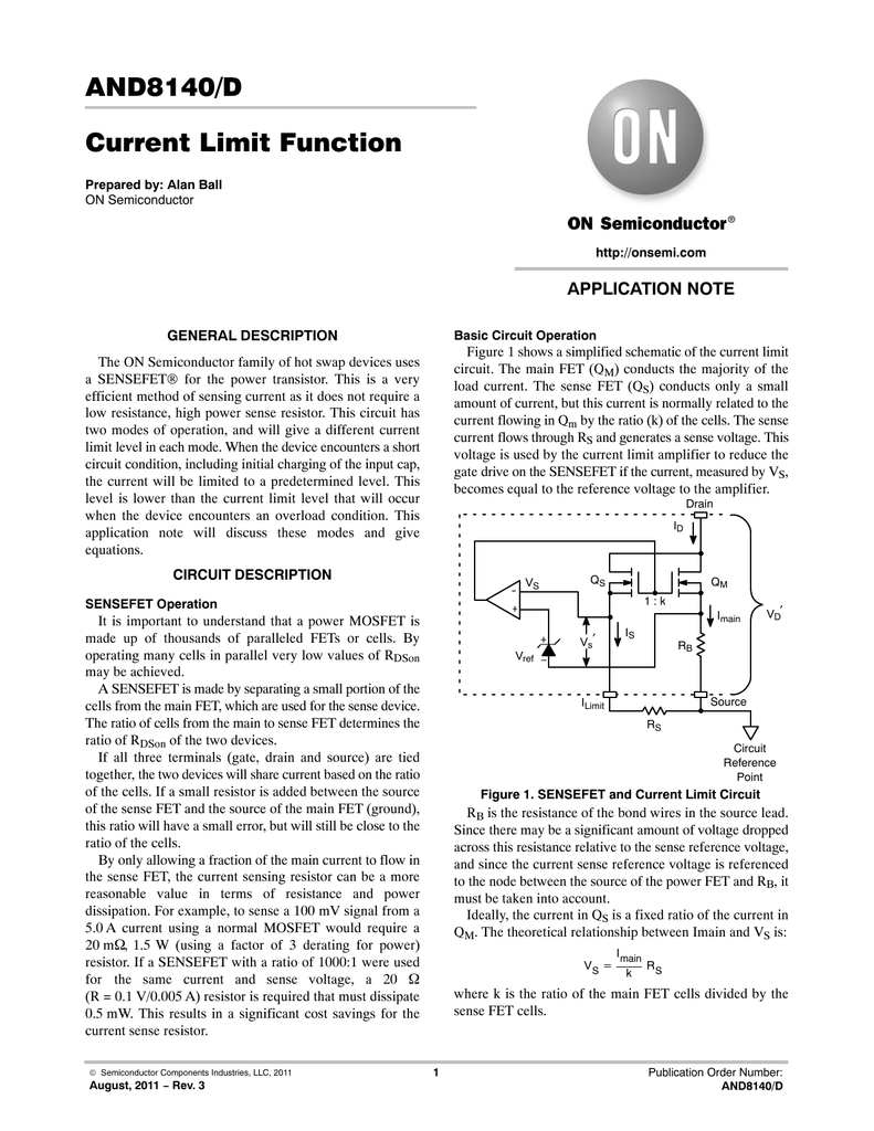 And8140 Current Limit Function Circuit