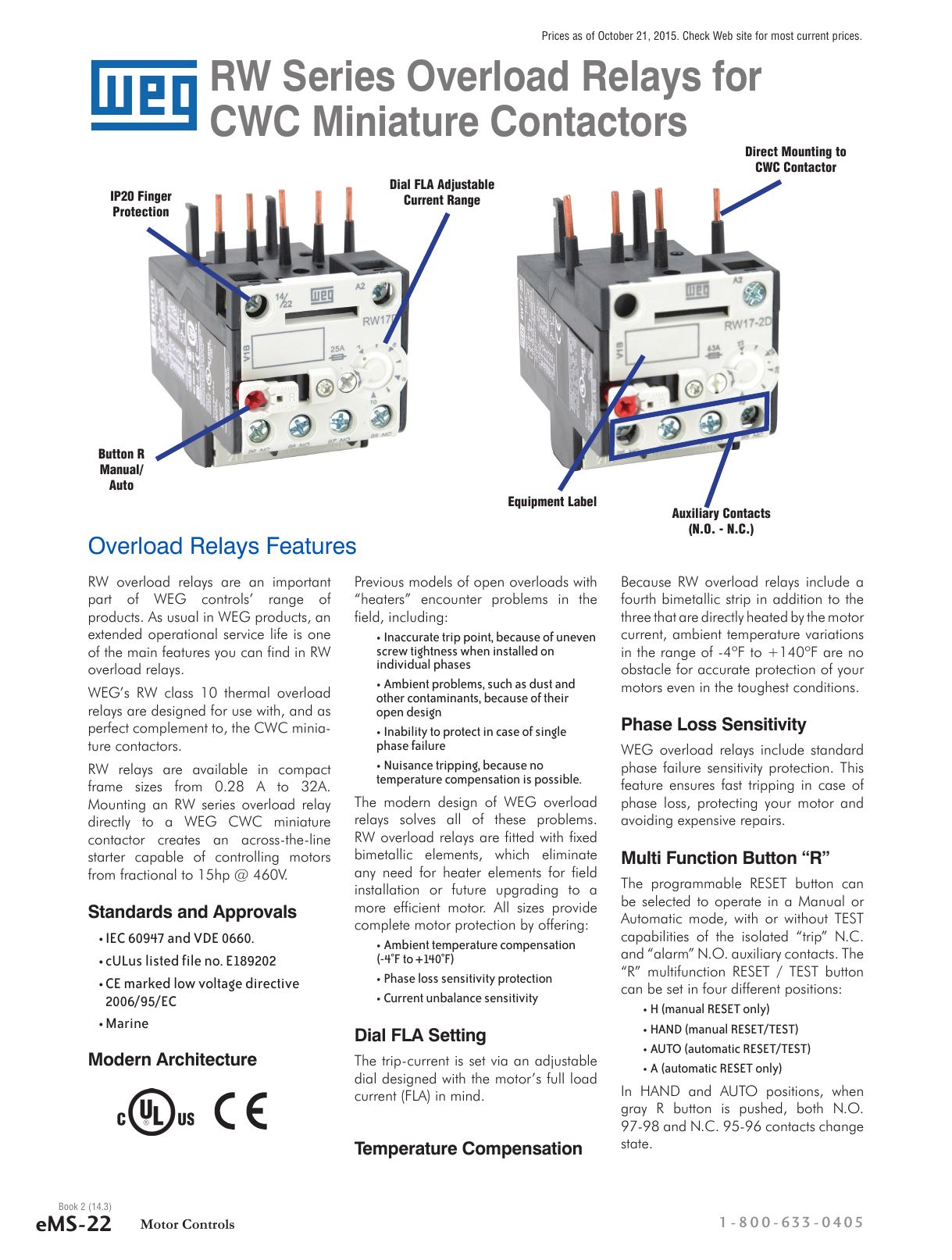 WEG RW Series Overload Relays Technical Specs
