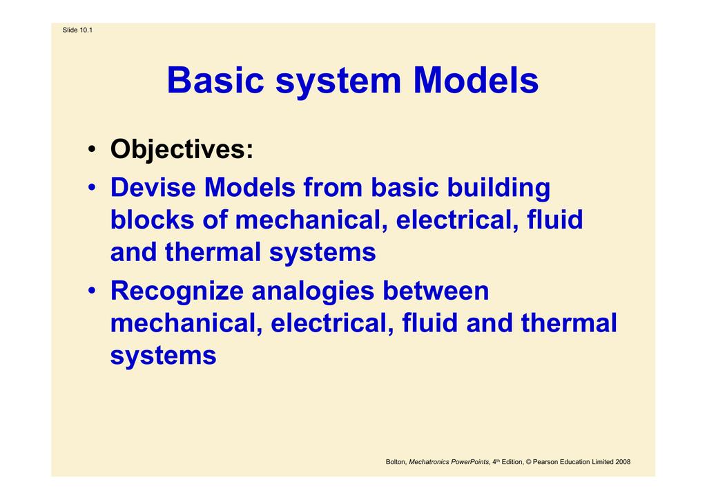 Mechanical system building blocks