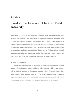 Unit 2 Coulomb`s Law and Electric Field Intensity