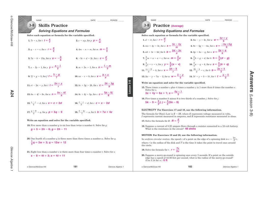 Workbooks glencoe mcgraw hill skills practice workbook answers : An s we rs