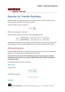 Exercise 1a: Transfer functions