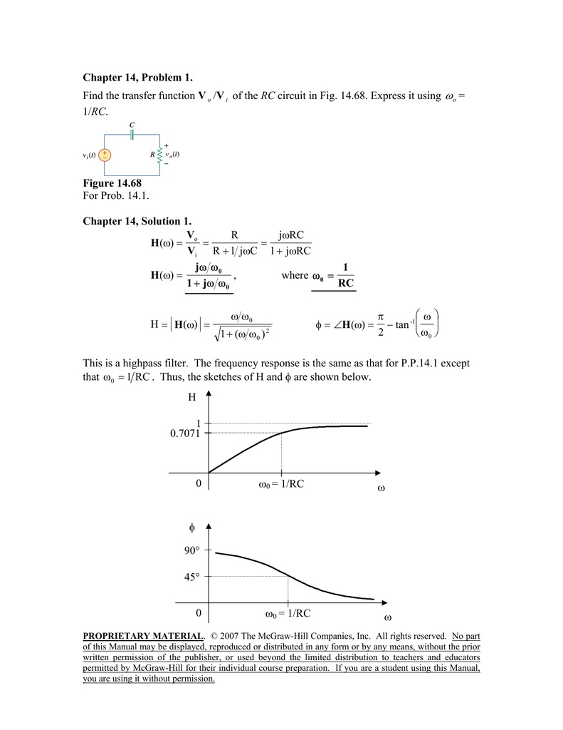 Chapter 14 Problem 1 Find The Transfer Function Vo Vi Of Rc How To Troubleshoot This Bandstop Filter Circuit Electrical