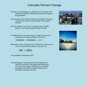 Calculate Percent Change .         = %