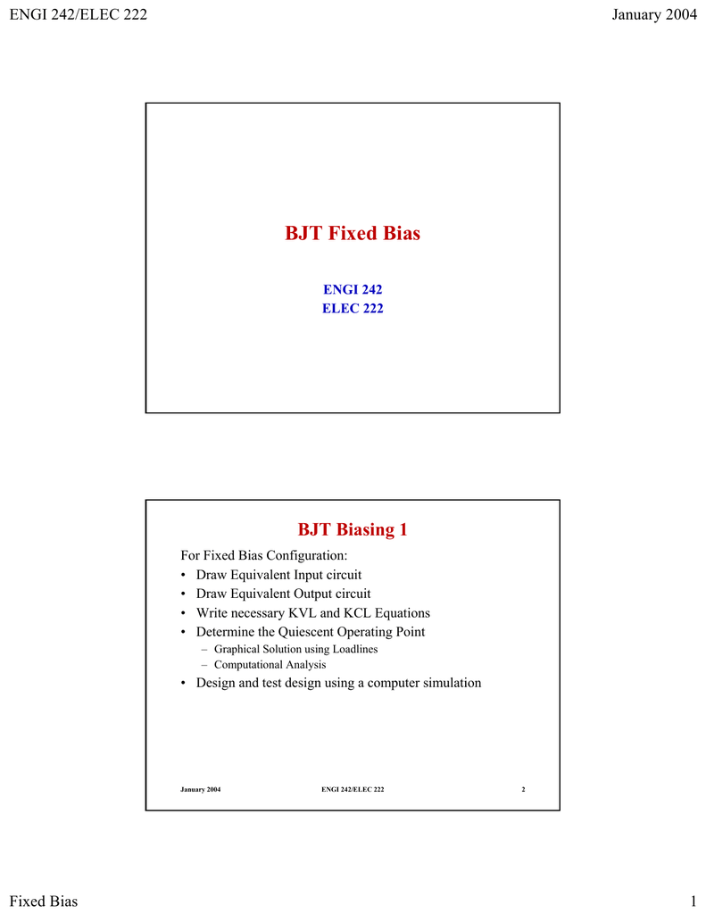 Powerpoint Bjt Biasing 1 Solve Elec Electrical Circuits Analysis And Resolution