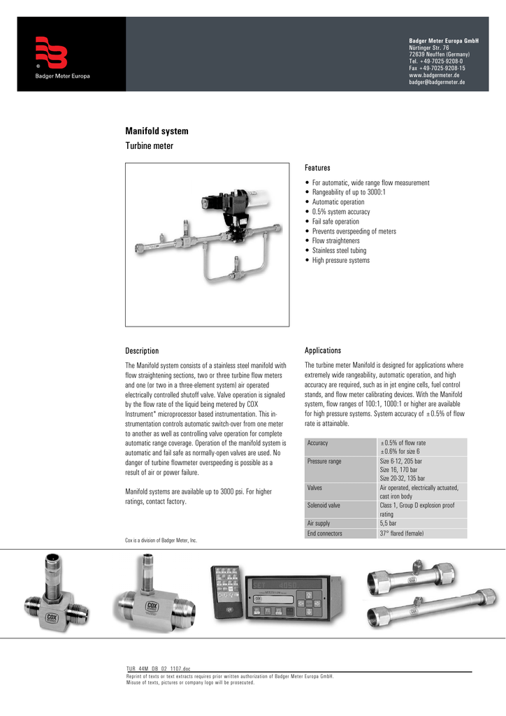 Manifold system Turbine meter