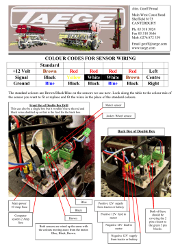 COLOUR CODES FOR SENSOR WIRING Standard +12 Volt Brown