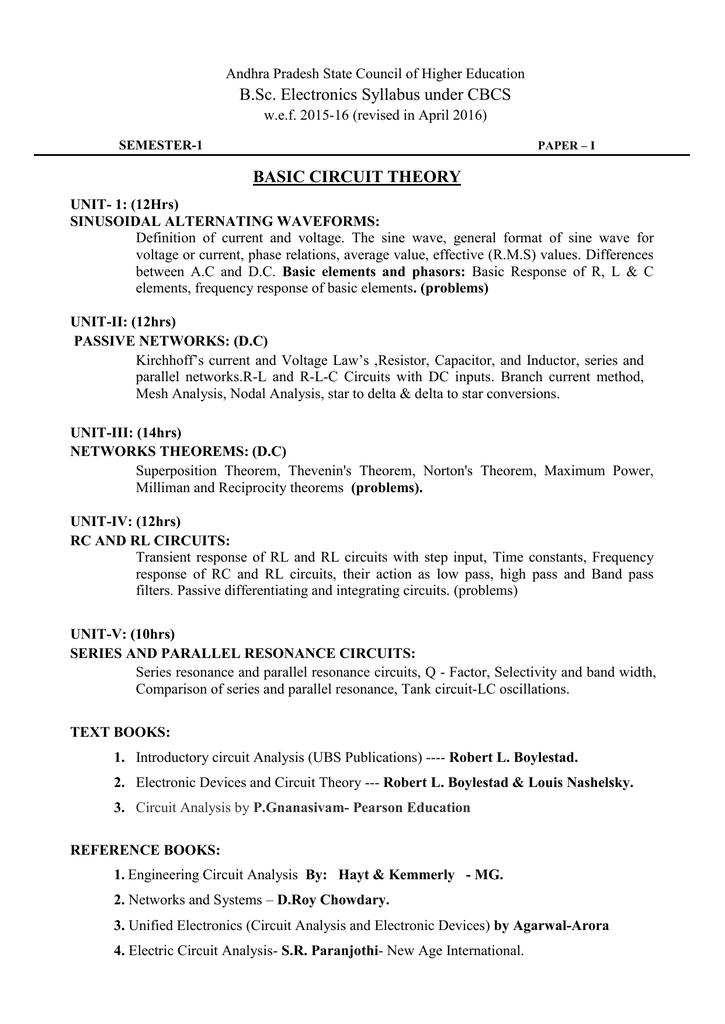 syllabus of electronics rayalaseema university