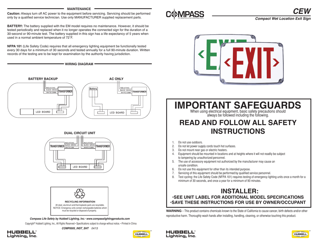 Important Safeguards Compass Lighting Products Exit Sign Wiring Diagram 120v 277v
