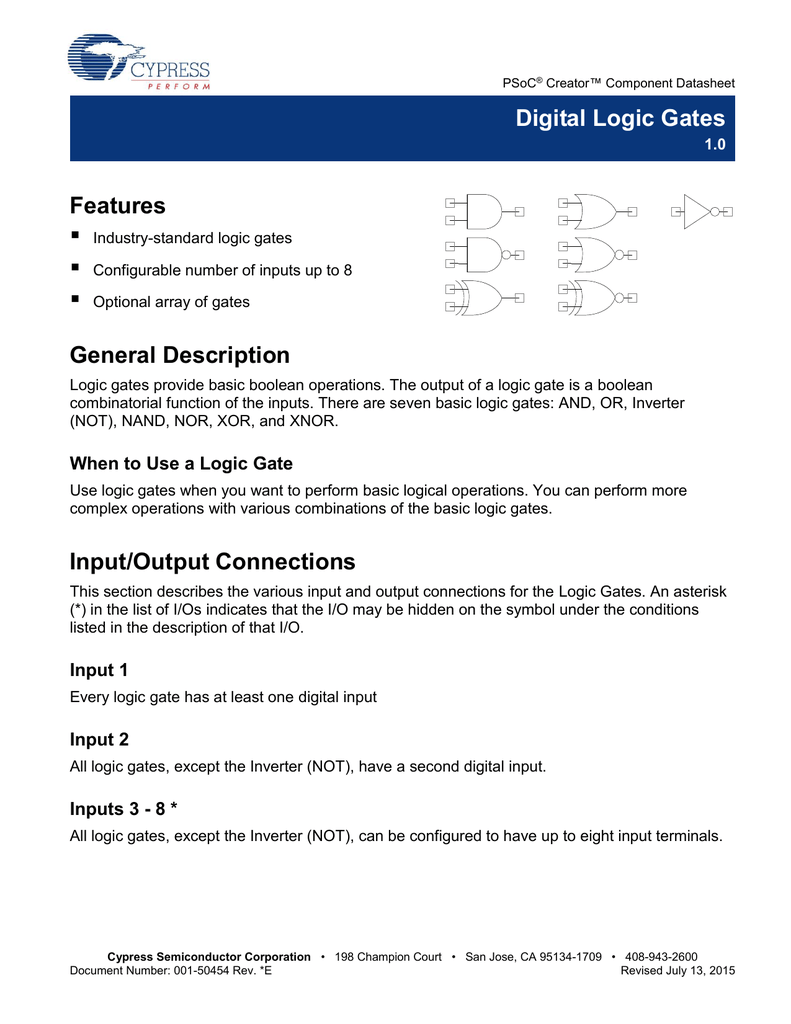 And Or Nand Nor Xor Xnor digital logic gates - cypress semiconductor