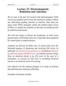 Lecture 31: Electromagnetic Radiation and Antennas