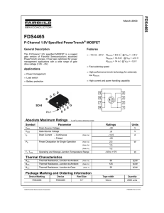 FDS4465 P-Channel 1.8V Specified PowerTrench® MOSFET