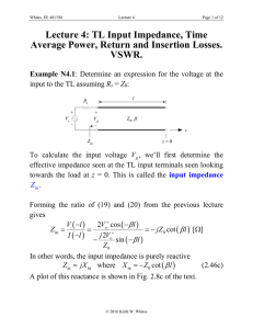 Lecture 4: TL Input Impedance, Time Average Power, Return and